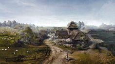 Fantasy Landscape Village Art Game the Witcher 3 Wild Hunt 1920x1080