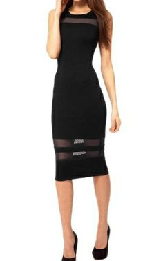 Moonar Lady's Sleeveless Black Mesh Evening Dress
