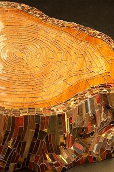Glass Mosaic Stump by Kate Jessup art