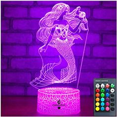 Easuntec Mermaid Toys Night Light with Remote & Smart Touch 7 Colors + 16 Colors Changing Dimmable Mermaid Gifts 1 2 3 4 5 6 7 8 Year Old Girl Gifts (Mermaid 16WT) Mermaid Toys, Mermaid Gifts, Baby Night Light, Led Night Light, Disney Princess Toys, Dinosaur Gifts, Color Changing Lights, Unicorn Gifts, Light Decorations