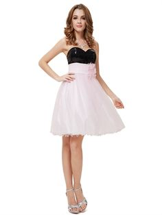 Sweetheart Black Sequin Pink Tulle A Line Lovely Cheap Short Prom Dress