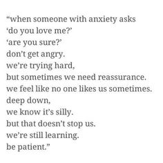 I don't know if I have anxiety, but I know I've had panic attacks and will randomly think that people hate me and can't push those thoughts out of my head The Words, Anxiety Relief, Anxiety Quotes Panic Attacks, Depression And Anxiety Quotes, Depression Hurts, Tips, Inspirational Quotes, Thoughts