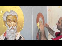 Byzantine icons: The Gilding process. Greek Icons, Byzantine Icons, Orthodox Icons, Painting Videos, Roman Empire, Painting Techniques, Installation Art, Art Tutorials, Virgin Mary