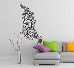$19.56  -  12 x 24 Vinyl Wall Decal Henna Pattern with Flowers  Tattoo Design Art Decor Sticker  Indian Mehandi Removable Mural  Free Random Decal Gift * See this great product. (This is an affiliate link) #WallStickersMurals