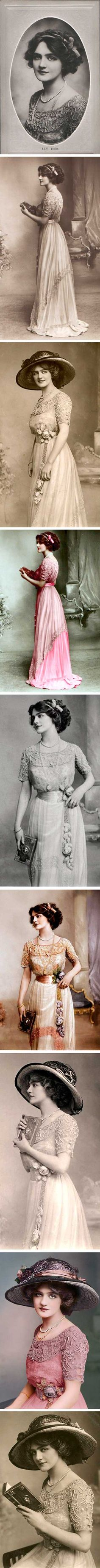 Lily Elsie was a popular actress and singer in Edwardian days. A century later, thanks to the Internet, she has been rediscovered. Her dreamy beauty was captured in scores of photographs. She posed in many beautiful dresses, but none so frequently as the one seen here. I haven't been able to discover who designed the gown (although one source claims it was Lucile) or what color it was, but that just sets us free to imagine.