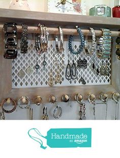 Wall Hanging Jewelry Organizer necklace, bracelet, earring, ring, and watch holders. wall mount