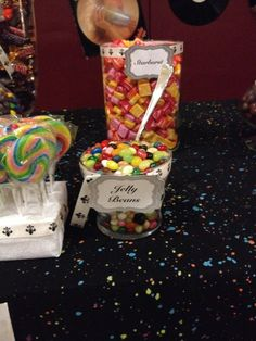 80's dance party candy buffet. 80s Candy, Party Candy, Candy Buffet, Buffets, Jelly Beans, 40th Birthday, Dance, Decorating, Breakfast
