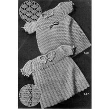 Vintage Crochet Baby Dress Patterns in Nylon Yarn have puff sleeves, round necklines and ribbon laced bodice.  Size 2 and 3  l  Vintage Knit Crochet Pattern Shop