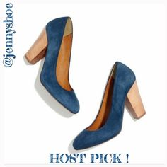 "{madewell} 'frankie pump' in blue suede New in box! Only tried on.   Gorgeous blue suede Frankie pumps from Madewell. With its gently rounded toe, chunky 3.75"" natural wooden heel and suede upper, this shoe will definitely catch the eye.   Made in Italy.   No trades. Madewell Shoes Heels"