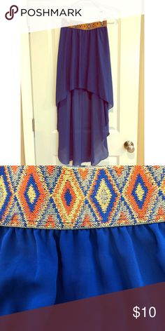 High-low skirt with tribal band Royal blue high-low maxi skirt with a boho chic tribal band! Love Culture Skirts High Low