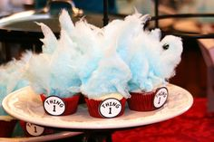 Dr. Seuss Cupcakes! The cotton candy tops have to be done at the last minute, cotton candy doesn't hold up well. (learned that the hard way) hee hee