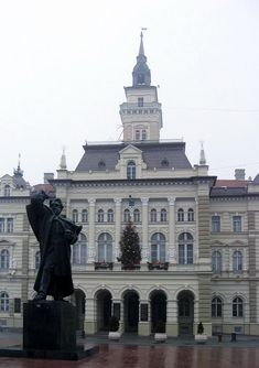 This is the Monument of Svetozar MIletic, the work of Ivan Mestrovic. It was erected in 1939. Svetozar Miletic was major of Novi Sad at the end of 19th century. This monument is in front of city hall.