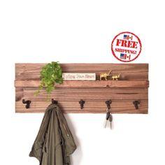 Entryway Floating Shelf Coat Rack with Hooks / FREE SHIPPING /Rustic Walnut Wooden Shelf  #etsy #coathooks #floatingshelves #riversidestudio