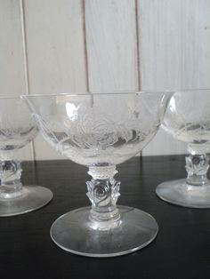 Vintage set of four Heisey crystal low by valeriesvintagehome, $36.00