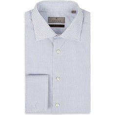 Canali Graph Check French-cuff Dress shirt (White Blue)