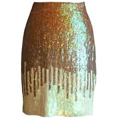 Preowned Versace Gold And Pale Lime Sequin Pencil Skirt With Tags ($295) ❤ liked on Polyvore featuring skirts, bottoms, versace, brown, stretchy skirt, stretch pencil skirt, brown pencil skirt, versace skirt and sequin pencil skirts