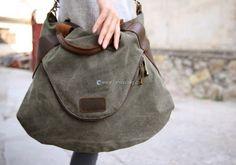 Large Capacity Shoulder Bag Leather Canvas Bag (22) Canvas Shoulder Bag, Leather Shoulder Bag, Leather Bag, Hobo Bag, Travel Bags, Designer Handbags, Marc Jacobs, Purses, Fashion