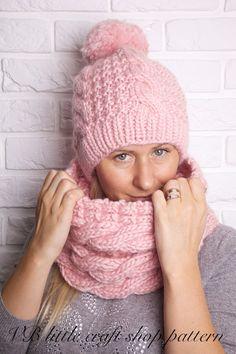 Aran Hat and Cowl knitting pattern. Instant by VBlittlecraftshop