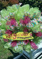 Owl Wreath Deco Mesh Wreath Summer Ribbon Wreath