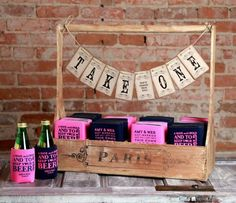 Custom coozie wedding favor bar