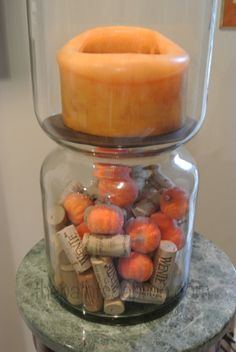 pumpkins and corks fall candle