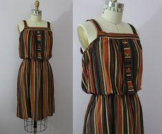 Vintage 1970s Terry Cloth Dress / 70s Boho by livinvintageshop