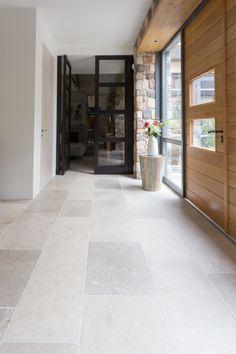 French limestone - Niveaux gris - Home: Living color Limestone Flooring, Kitchen Floor Tile, Flooring, Travertine Floors, Stone Flooring, House, House Flooring, Living Room Tiles, Tile Floor Living Room
