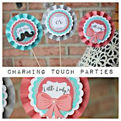Gender Reveal Party Centerpiece by Charming Touch Parties. Coral and Aqua Little Man or Little Miss. Pack of three, customizable. by CharmingTouchParties on Etsy