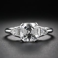 2.02 Asscher-Cut Diamond Art Deco Ring - Vintage Engagement Rings