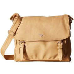 Roxy Schoolie Bag Messenger Bag (Lark) Messenger Bags ($42) ❤ liked on Polyvore featuring bags, messenger bags, beige bag, courier bag, roxy messenger bag and snap bag