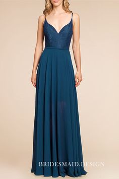Navy Lace and Chiffon Curved V-neck Spaghetti Straps A-line Bridesmaid Dress 52a7c5c69