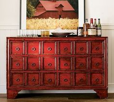 I want to do this finish to an antique buffet I just bought and use it for an entertainment center. Red Painted Furniture, Painted Buffet, Paint Furniture, Furniture Makeover, Cool Furniture, Asian Furniture, Chinese Furniture, Modern Buffet, Antique Buffet