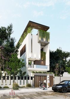 Discover recipes, home ideas, style inspiration and other ideas to try. Flat House Design, Narrow House Designs, Bungalow House Design, House Front Design, Modern House Design, Modern Architecture House, Facade Architecture, Facade Design, Exterior Design