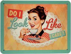 ✔ Pin Up Girl Do I look like I care? Retro Blechschild 20x15 cm Metallschild M25 | eBay
