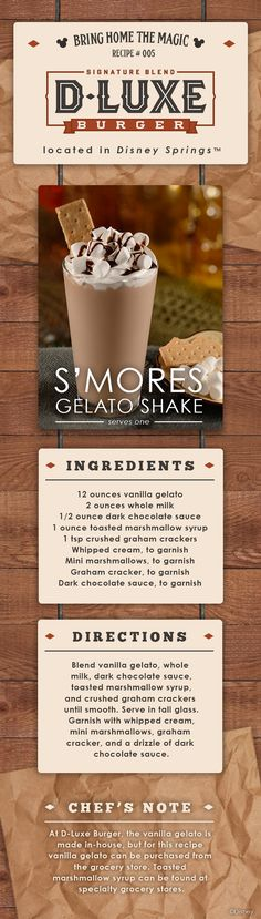 Recipe: Celebrate National S'mores Day With Gelato Shake From D-Luxe Burger at Walt Disney World's Disney Springs