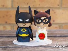 Cute Batman + Catwoman wedding cake topper by GenefyPlayground  https://www.etsy.com/shop/GenefyPlayground