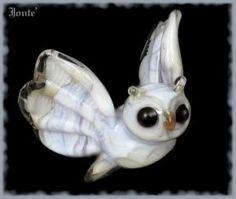 jontelglassstudio white owl flying bead