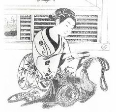 Japanese Kumihimo, the Art of Silk Braiding  Edo print of a seller of braids in a Kyoto shop    Source: Catherine Martin; Kumihimo