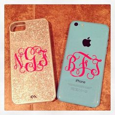 Vine Monogram - Perfect for iPhone on Etsy, $2.00 // monogram stickers // simplysouthernchics