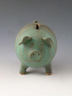 Ceramic Piggy Bank by FlynnDayPottery on Etsy