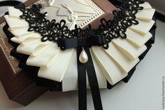 Колье-воротничок из репсовых лент №3 - чёрный,бежевый,репсовая лента,репсовые ленты