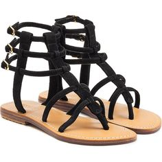 Mystique Suede Sandals (£115) ❤ liked on Polyvore featuring shoes, sandals, black, flats, black suede flats, ankle strap flats, low heel sandals, t-strap flats and black flats
