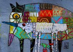Elke Trittel acrylic,collage on paper 25x30cm