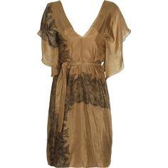 Marni Layered printed silk-chiffon dress ($389) ❤ liked on Polyvore