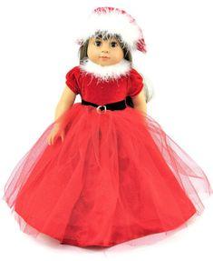 770bfcae8aed Long Red Santa Christmas Dress & Santa Hat - Dori's Doll Boutique Santa  Christmas,