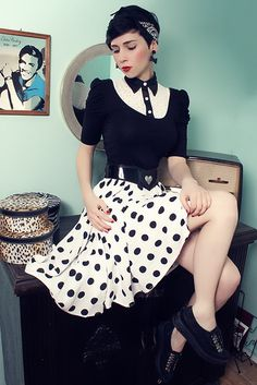 Black and white polka dots (by Nora Lovely) http://lookbook.nu/look/3294275-black-and-white-polka-dots