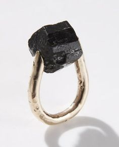 manimania bronze metal ring with black tourmaline crystal