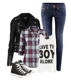 Layers! graphic tank, plaid shirt, leather jacket, skinny jeans, and converse
