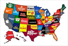 Does this map represent each state's most recognized brand? (from Adweek)  Comment below...  Note: NJ is Campbell's, NH is Timberland, VT is Ben & Jerry's, RI is Hasbro, MD is Geico, DE is DuPont, and HI is Hawaiian Airlines
