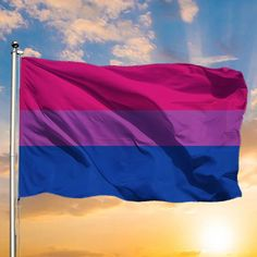 Flying Flag, Bi Flag, Bisexual Pride, Embroidery Flowers Pattern, Flag Stand, Vibrant Colors, Colorful, Graphic Illustration, Aesthetic Wallpapers